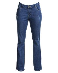 Utopia Curvy Fit Basic Bootleg Jeans Blue