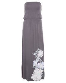 Utopia Placement Print Maxi Boob Tube Dress Grey