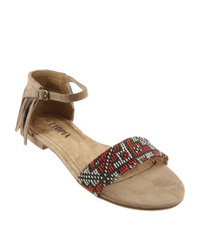 Utopia Tribal Tassel Flat Sandals Taupe