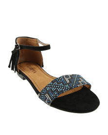 Utopia Tribal Tassel Flat Sandals Black