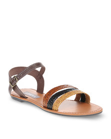 Utopia Weave and Leather Backstrap Sandals Multi