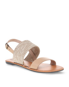 Utopia Leather & Weave Slingback Sandals Beige