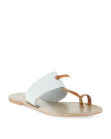 Utopia Leather Toe Strap Sandal White/Tan