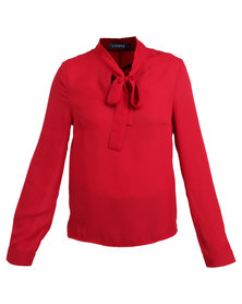 Utopia Pussy Bow Blouse Red