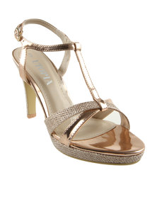 Utopia Cross Strap Platform Heel Sandals Rose Gold