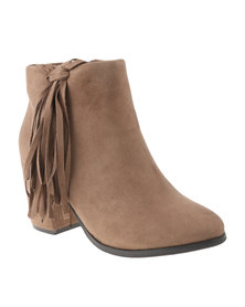 Utopia Side Tassel Ankle Boots Taupe