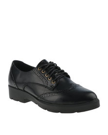 Utopia Pointed Brogue Cleated Flatform Black