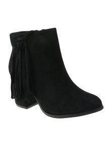 Utopia Side Tassel Ankle Boots Black