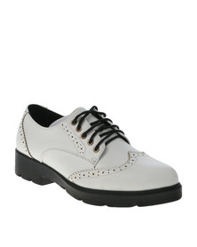 Utopia Pointed Brogue Cleated Flatform White
