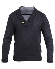 Utopia Shawl Collar Jumper Charcoal