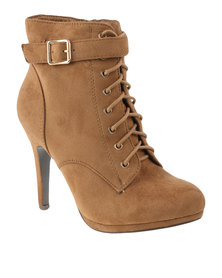 Utopia Lace Up Heel Boots Camel