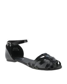 Utopia Strappy Huarache Sandals Black