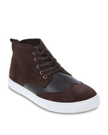 Utopia Brogue High-Top Sneakers Coffee Brown