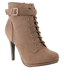 Utopia Lace Up Heel Boots Taupe