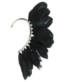 Utopia Bohemian Feather Earcuff Black