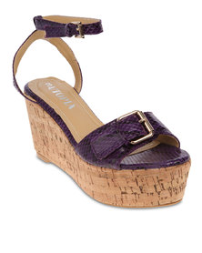 Utopia Snake Ankle Strap Wedges Purple
