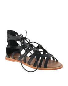 Utopia Lace Up Paterned Sandals Black