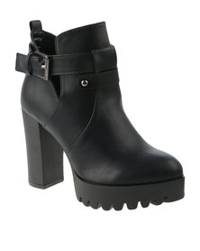 Utopia Cleated Side Buckle Boots Black