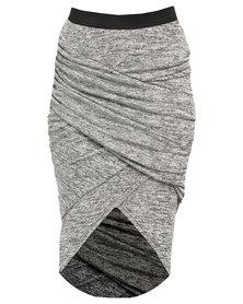 Utopia Mock Wrap Pencil Skirt Grey