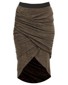 Utopia Mock Wrap Pencil Skirt Olive