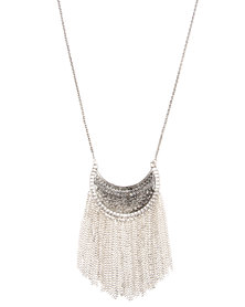 Utopia Statement Necklace with Chains Silver-Tone