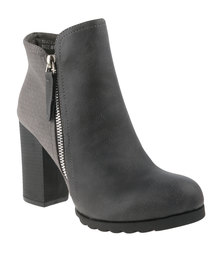 Utopia Fabric Block Heeled Boots Grey