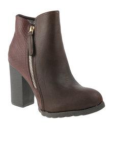 Utopia Fabric Block Heeled Boots Brown