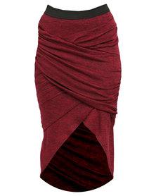 Utopia Mock Wrap Pencil Skirt Garnet