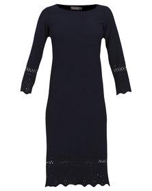 Utopia Aline Border Punch Dress Navy Blue