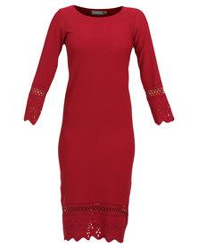 Utopia Aline Border Punch Dress Garnet
