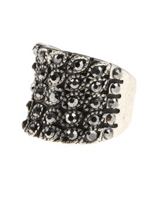 Utopia Diamante Ring Silver-Tone
