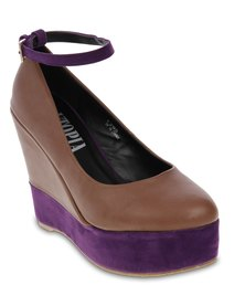 Utopia Ankle Strap Two Tone Wedges Brown