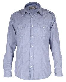Utopia Striped Panel Shirt Blue