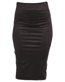Utopia Mock Suede Pencil Skirt Black