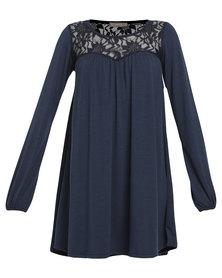 Utopia Knit Dress with Lace Yoke Navy Blue