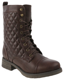 Utopia Quilted Combat Boots Coffee