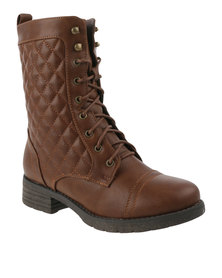 Utopia Quilted Combat Boots Brown