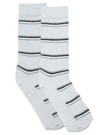 Utopia Stripe Men's Socks White