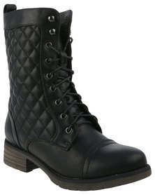 Utopia Quilted Combat Boots Black