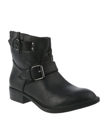 Utopia Double Buckle Ankle Boots Black