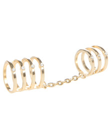 Utopia Cutout Ring with Chain Gold-Tone