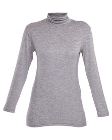 Utopia Basic Polo Neck Top Grey