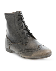 Utopia Lace-up Brogue Boot Grey