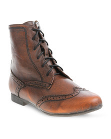 Utopia Lace-up Brogue Boot Brown
