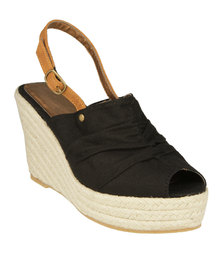 Utopia Pleated Sling Back Wedge Sandals Black