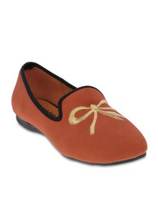 Utopia Bow Embroidery Pumps Orange