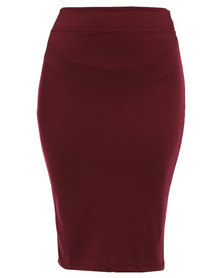 Utopia Basic Pencil Skirt Burgundy