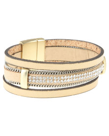 Utopia Diamante Trim Bracelet Beige