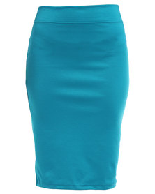Utopia Basic Pencil Skirt Teal