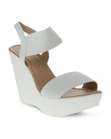 Utopia Elastic Wedge Heels White